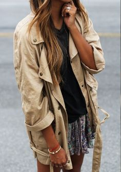 Gotta love an oversized utility jacket paired with a flirty mini skirt. http://www.adoreme.com