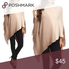 🆕ELYSSA asym ombré fringe poncho - BEIGE Ombre poncho with fringe detail, boat neck, and asymmetric hemline. Fabric 100% Acrylic 🚨🚨NO TRADE, PRICE FIRM🚨🚨 Bellanblue Sweaters Shrugs & Ponchos