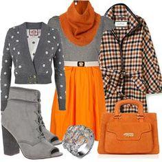 I think I am into Orange this year Orange Grey, Grey Fashion, Medium, How To Wear, Outfits, Image, Google Search, Black, Fall