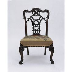 """Chair, Chippendale style in the """"French"""" taste, or Ribband Back. Made 19th century however."""