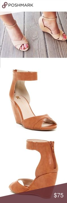 """Cognac Ankle Strap Wedge Sandal Sizing: True to size. - Open toe - Layered vamp detail - Ankle strap with side elastic - Back zip closure - Lightly cushioned footbed - Covered wedge heel - Approx. 3.5"""" heel - Imported Materials: Vegan Leather upper, rubber sole BC Footwear Shoes Wedges"""