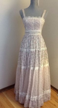 Vtg 70s GUNNE SAX by JESSICA Floral Lace Boho Juniors Size 7 maxi SUN Dress in Clothing, Shoes & Accessories | eBay