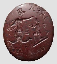 Abraxas-Gemme,   Title: A Roman Abraxas intaglio, römisch, östlicher Mittelmeerraum, 2./3. Jhdt. n. Chr.