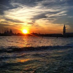 Sunset in Venetian Lagoon This picture you can see Venice in background with a amazing sunset. After a day with heavy rain. http://venicegondola.com #venice