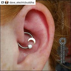 """""""Dead stoked to use this piece I put together in a fresh Daith piercing today, made up of a forward facing cbb, partial bezel set swarovski cz and a solid gold cresent moon, all from the homies at anatometal"""" Innenohr Piercing, Daith Piercing Jewelry, Daith Earrings, Cute Ear Piercings, Daith Piercing Migraine, Septum Piercings, Body Jewellery, Ear Jewelry, Cute Jewelry"""