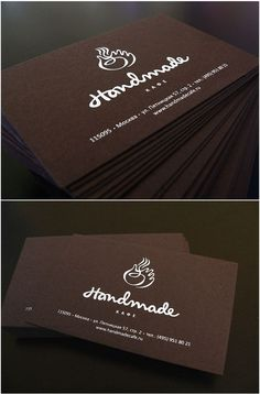 """Handmade"" business card - Screen print white ink on chocolate brown cover stock"