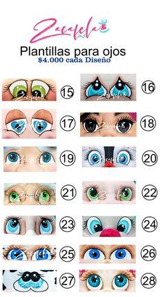 Biscuit, Kewpie, Doll Eyes, 3 D, Stencils, Dolls, Face, Halloween, Eye Stickers
