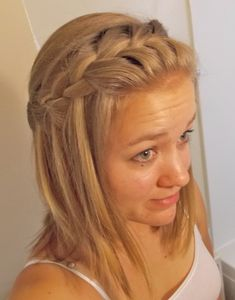 Waterfall braid for medium-length hair. Cute and easy to do!