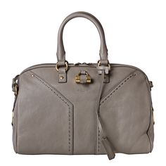 Yves Saint Laurent 'Muse' Light Grey Leather Bowler Bag - Mine