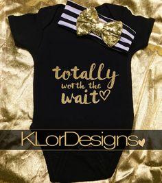 Baby Girl Bodysuit  Worth The Wait Onesie baby girl by KLorDesigns