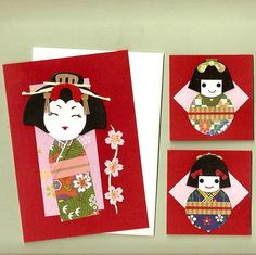 geisha paper for cards and bookmarks japanese kokeshi dolls mini note cards japanese geisha paper dolls japanese girls paper dolls japanese geisha greeting ca Quilling Paper Craft, Paper Crafts, Kimono Origami, Japanese Greetings, Asian Crafts, Dragon Fly Craft, Japanese Paper, Kokeshi Dolls, Paper Dolls