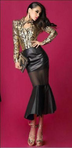 Leather Fashion x Sexy Skirt, Dress Skirt, Dress Up, Hot High Heels, Platform High Heels, Skirt Outfits, Chic Outfits, Corps Parfait, Tube Skirt