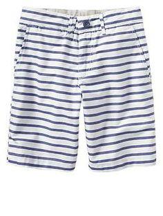 Oxford stripe flat front shorts | Gap