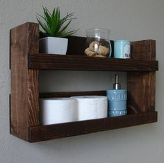 Rustic Modern 2 Tier Bathroom Wall Shelf by KeoDecor on Etsy