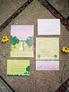 illustrated wedding invitations, photo by Kristin La Voie Photography http://ruffledblog.com/backyard-indiana-wedding #weddinginvitations #stationery
