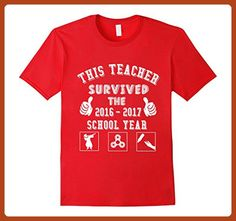 Mens This Teacher Survived The 2016 2017 School Year Funny Tshirt Small Red - Careers professions shirts (*Partner-Link)