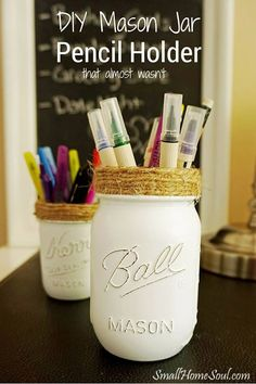Waste Not Wednesday Week 7   Another clever use for mason jars is the  Pencil Holder Toni painted and decorated. I wouldn't mind having my desk organized with these cute jars. Mason Jar Diy, Mason Jar Crafts, Pencil Holder, Talenti Ice Cream, Scissors, Easy Diy, Pencil Cases, Pencil Holders