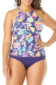 aaae788c16b35 Anne Cole Plus Paisley Pom High Neck Tankini Swimsuit Shops, Tankini Top, Bikini  Tops