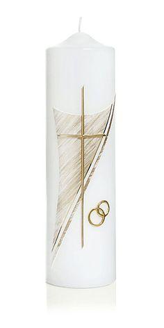 Die Hochzeitskerze Nr. 6 in gold ist mit Ringen und Kreuz verziert. Die Kerze aus dem Hause Wiedemann hat eine Abmessung (H/DM) von 250/70 mm. 34,90€ Im Preis ist die Kerze samt Verzierung und Ihrer individuellen Beschriftung mit Vornamen und Datum (z.B. Claudia & Martin 20.07.2013) enthalten. Candle Art, Candle Sconces, Baptism Candle, Wedding Unity Candles, Photo Candles, Calla Lily, Candle Making, Sylvester Stallone, Different Colors