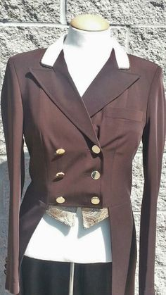 Grand Prix Brown TechLite Dressage Shadbelly with custom Ultrasuede collar and piping. reversible vest points Call Saddlers Row 847-776-6700