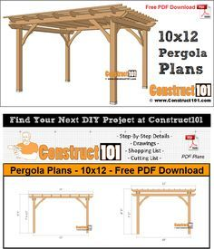 Pergola Plans 10x12 Pdf Download Construct101 Pergola Pergola Plans Pergola Designs