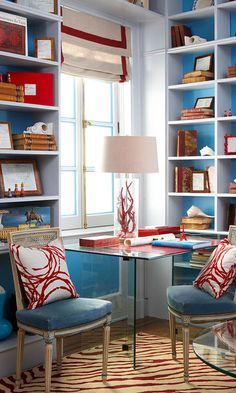 Showhouse Rooms with Red Accents - Traditional Home Beach Chic Decor, Chic Office Decor, Interior Decorating, Interior Design, Interior Ideas, White Shelves, Shelf Design, Red Accents, Blue Walls