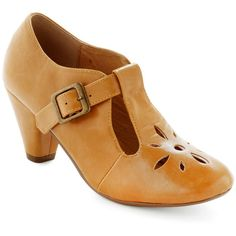 Burst of Style Heel in Mustard ($65) ❤ liked on Polyvore