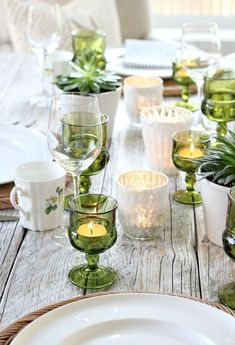 Vintage Green Glasses ~ Mary Wald's Place - Eclectic Fall Tablescape with Vintage Green Glass Tea Light Holders and Mercury Glass Votives - Satori Design for Living Glass Table Set, Glass Tea Light Holders, Vintage Green Glass, Thanksgiving Table Settings, Thanksgiving Tablescapes, Vintage Glassware, Tea Lights, Mercury Glass, Gold Flatware