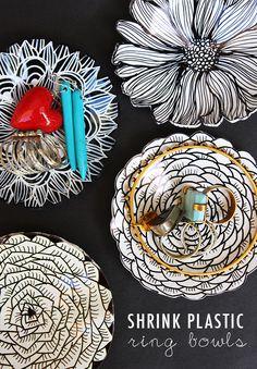Shrink plastic ring bowls