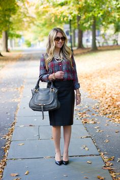 Faux Leather and Plaid - Mix & Match Fashion