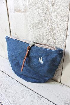 forestbound - denim utility pouch: ww2 american navy denim & original mending + 1940s star-printed feed sack lining