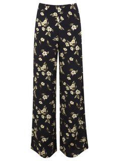 Miss Selfridge Yellow Floral Wide Leg Trouser Floral Wide Leg Trousers, Printed Trousers, Wide Leg Pants, Yellow Pants, Black Pants, Floral Print Pants, Sport Pants, I Dress, Miss Selfridge