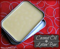 Coconut lotion bar.  I love the simple 1 to 1 ratio of coconut oil and beeswax then just add essential oil.