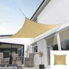 Kookaburra Waterproof Square Garden Sun Shade Sail Canopy In Yellow UV Block - Top Teepee UK Garden Sun Shade, Backyard Shade, Patio Shade, Shade Sail Installation, Outdoor Umbrella Stand, Sail Canopies, Sun Sail Shade, Shade Sails, Backyard Movie Nights