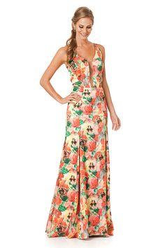 Vestido longo em estampa floral com transparência em tule no decote e nas costas.  Valor de varejo R$ 1.680,00