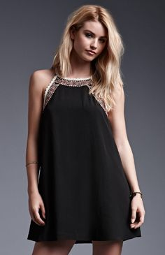 Hooked on Goddess High-Neck Crochet Trim Dress that I found on the PacSun App