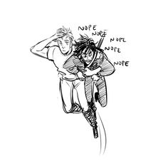 Interpretations of Jason's grabbing and flying with Nico, by Viria on tumblr