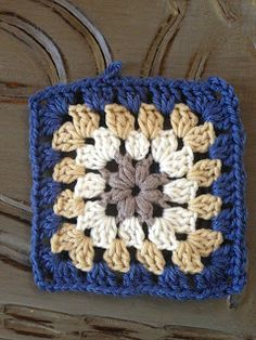 """Puff Stitch Granny Square - Here is a Granny square with a little twist that makes all the """"chic"""" difference, I am using it for a scarf, but it may be as easily used for a Handbag, a blanket, an ipad cover or much more…."""