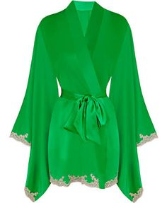 Green silk robe