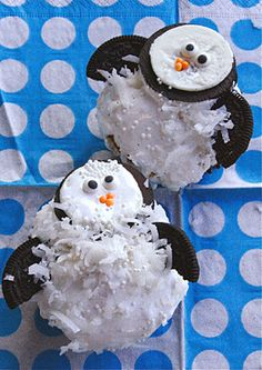 Penguin Cupcakes this summer since we don't have Oreos in Russia.  Can do some kind of ice theme with the kids playing outside with colored ice cubes and ice eggs with toys inside, and a penguin cupcake for a snack since penguins like the cold ice.