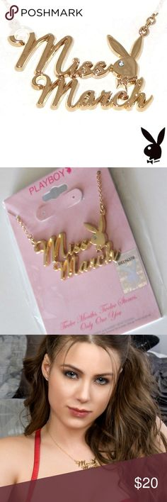 Playboy  Necklace Miss March Gold Plated Bunny Playboy  Necklace Miss March Gold Plated Bunny Playboy Jewelry Necklaces