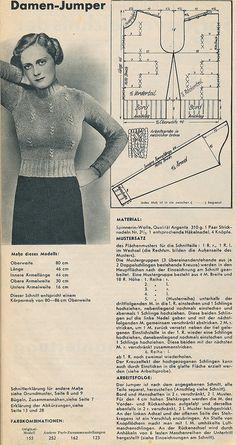 Free vintage knitting pattern : Damen jumper, 1930