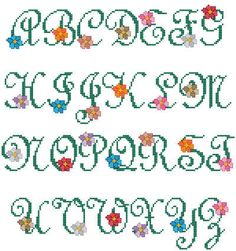 counted cross stitch alphabet letters free | alphabet flowers more designs by catia dias blooming spring alphabet ...