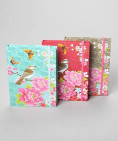 Set of Three: Peony Bird Notebooks  by Gorgeous Gifts and Home Interiors on #zulilyUK today!
