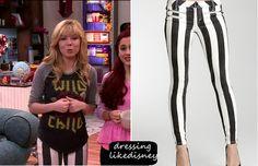 "Jennette McCurdy as Sam Puckett wears theseBebe Striped Multi Zip Skinny Jeans, in this weeks episode of Sam & Cat, ""#TheBritBrats"".  (Links in Jennette's Board)"