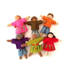 Felted Multicultural People Set from Play to Learn