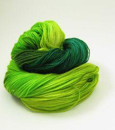 Green with Envy - Superwash Merino Sock Yarn - hand dyed fingering yarn