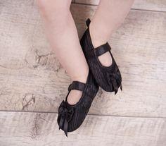 Black 'Mary Jane' Style Velcro Soft Shoes - £7.99