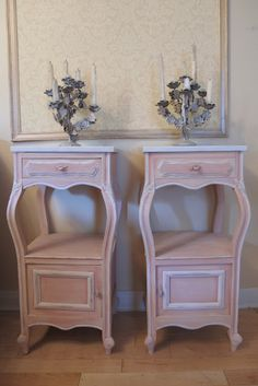 Scandinavian Pink Frenchy Bedside Cabinets Custom Paint Job Using Annie Sloan Chalk Paint®.....❤