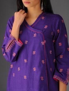 Purple-Pink Cotton Embroidered Angrakha Kurta By Jaypore